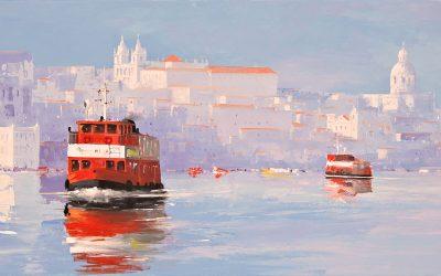 Acrílico - 'A Travessia' Lisboa (50 X 140)