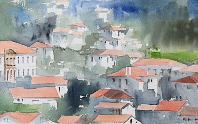 Aguarela - 'Arouca - Casario' (37 X 102)