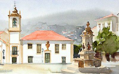 Aguarela - 'Arouca - Praça' (37 X 102)