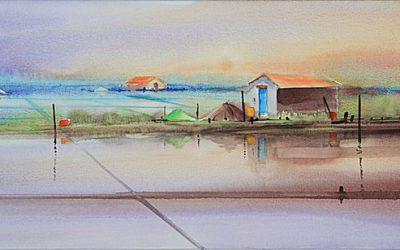Aguarela - 'Aveiro - Salinas' (37 X 102)