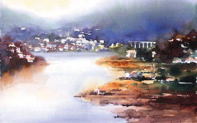 Aguarela - 'Douro - Paisagem 10' (76 X 102)