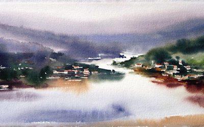 Aguarela - 'Douro - Paisagem' (28 X 76)