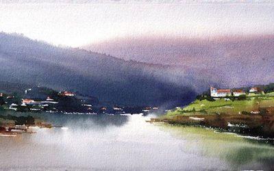 Aguarela - 'Douro - Paisagem 3' (28 X 76)