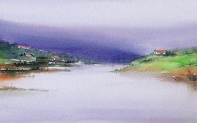 Aguarela - 'Douro - Paisagem 4' (28 X 76)