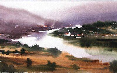Aguarela - 'Douro - Paisagem 5' (28 X 76)