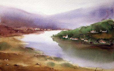 Aguarela - 'Douro - Paisagem 9' (38 X 56)