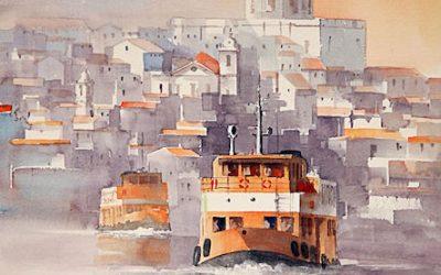 Aguarela - 'Lisboa - Cacilheiros' (76 X 56)