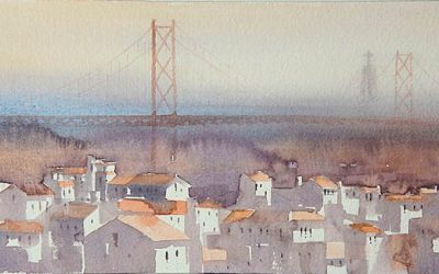 Aguarela - 'Lisboa - Casario' (25 X 75)