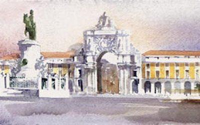 Aguarela - 'Lisboa - Composição 2' (24 X 102)