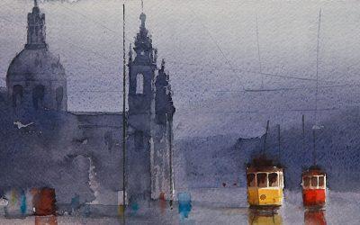 Aguarela - 'Lisboa - Eléctricos na Estrela' (20 X 52)