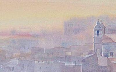 Aguarela - 'Lisboa - Entardecer' (26 X 102)