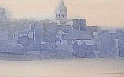 Aguarela - 'Lisboa - Início do Dia' (26 X 120)