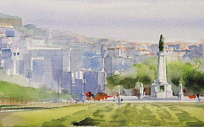 Aguarela - 'Lisboa - Parque Eduardo VII' (25 X 75)