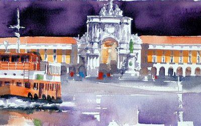 Aguarela - 'Lisboa - Praça do Comércio' (25 X 75)