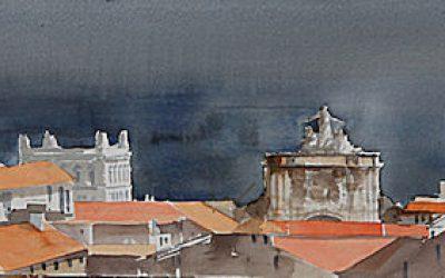 Aguarela - 'Lisboa - Telhados' (26 X 102)