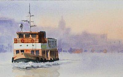 Aguarela - 'Lisboa - Travessia' (26 X 102)