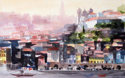 Aguarela - 'Porto - Visto de Gaia' (102 X 150)